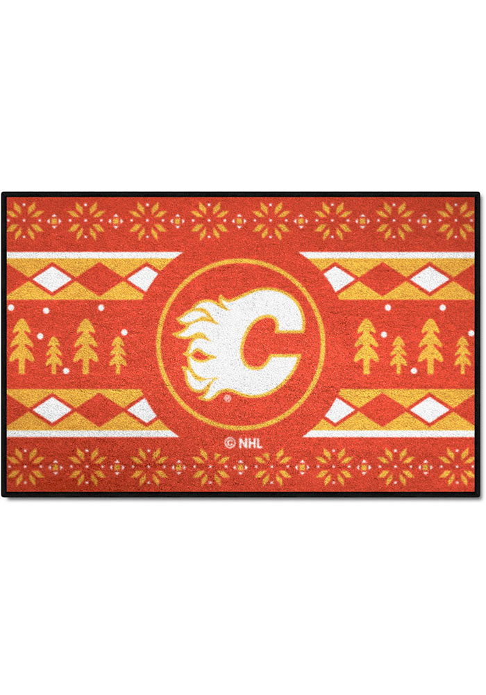 Calgary Flames 19x30 Holiday Sweater Starter Interior Rug - Image 1