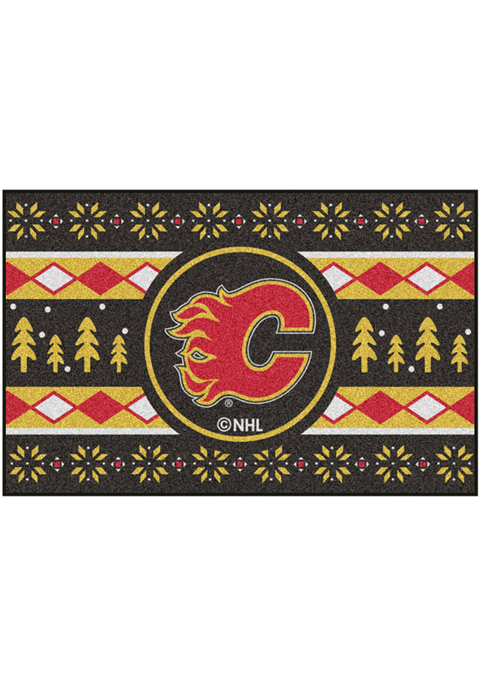 Calgary Flames 19x30 Holiday Sweater Starter Interior Rug - Image 2