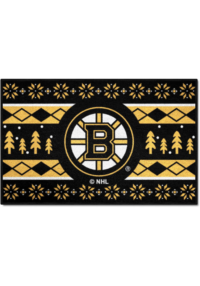 Boston Bruins 19x30 Holiday Sweater Starter Interior Rug - Image 1