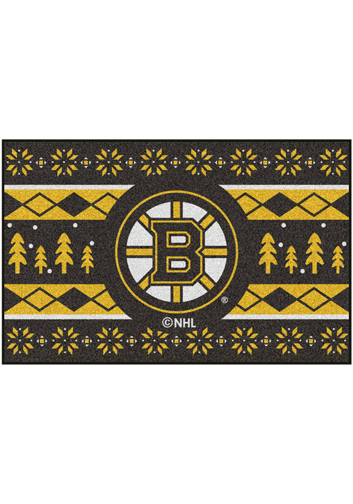 Boston Bruins 19x30 Holiday Sweater Starter Interior Rug - Image 2