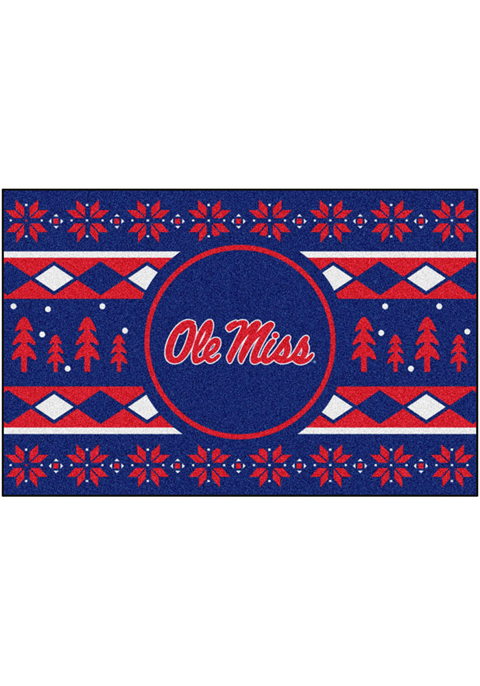 Ole Miss Rebels 19x30 Holiday Sweater Starter Interior Rug - Image 1