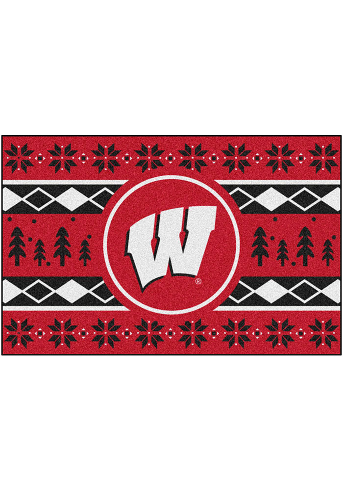 Wisconsin Badgers 19x30 Holiday Sweater Starter Interior Rug - Image 1