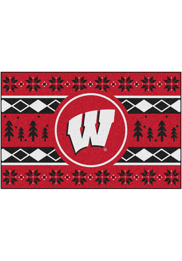 Wisconsin Badgers 19x30 Holiday Sweater Starter Interior Rug - Image 2