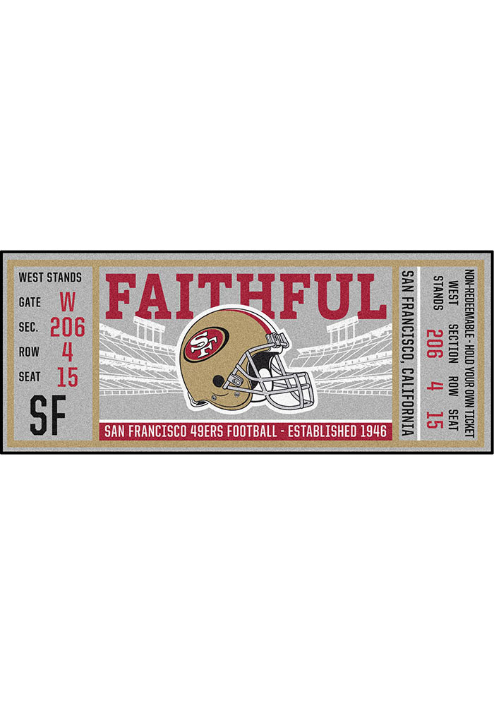 San Francisco 49ers 30x72 Ticket Runner Interior Rug - Image 2