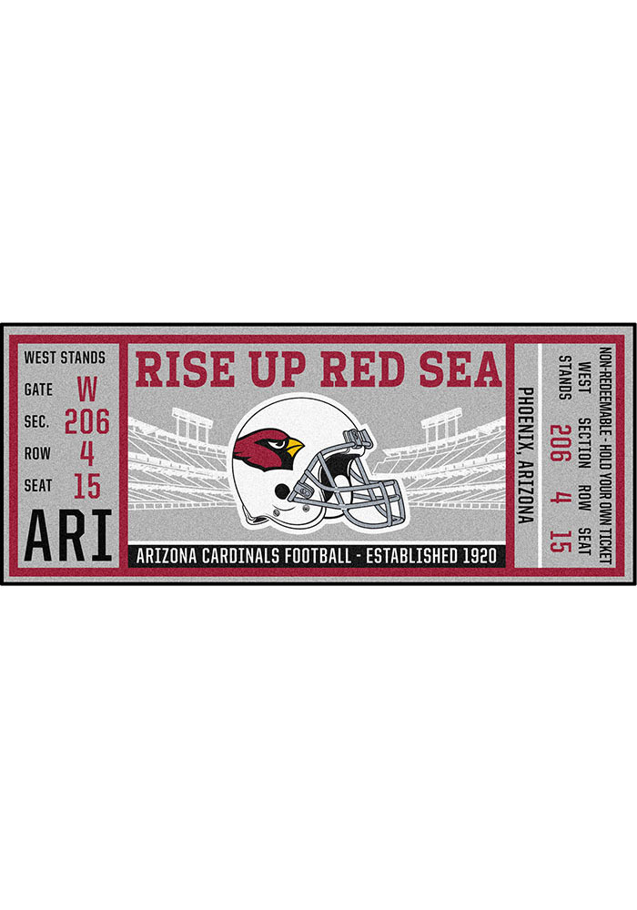 Arizona Cardinals 30x72 Ticket Runner Interior Rug - Image 1