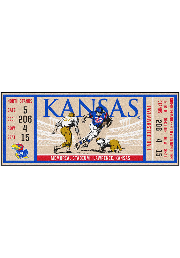Kansas Jayhawks 30x72 Ticket Runner Interior Rug - Image 1
