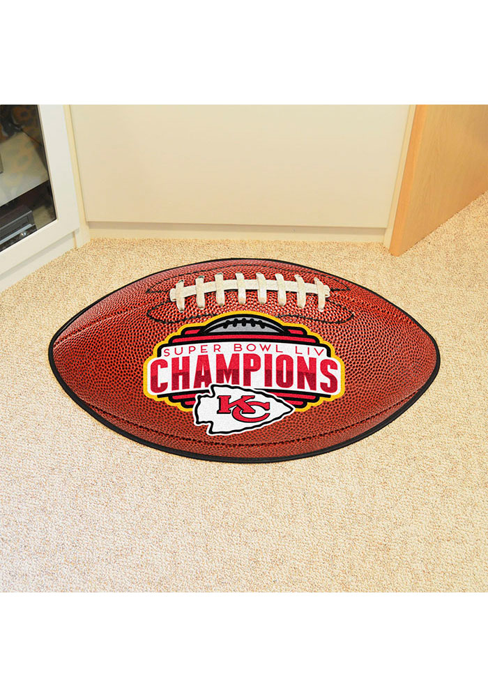 Kansas City Chiefs Super Bowl LIV Champions Football Interior Rug - Image 1