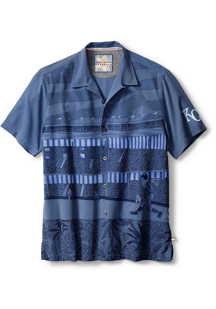 Tommy Bahama Kansas City Royals Mens Blue Island Stadium Short Sleeve Dress Shirt - Image 1