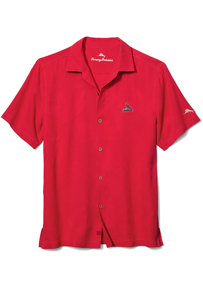 Tommy Bahama St Louis Cardinals Mens Red Al Fresco Jacquard Short Sleeve Dress Shirt - Image 1