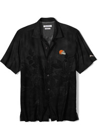 Cleveland Browns Tommy Bahama Floral Fade Silk Dress Shirt - Black