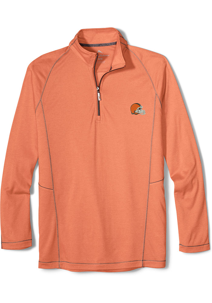 Tommy Bahama Cleveland Browns Mens Orange Goal Keeper Long Sleeve 1/4 Zip Pullover - Image 1