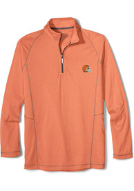 Cleveland Browns Tommy Bahama Goal Keeper 1/4 Zip Pullover - Orange