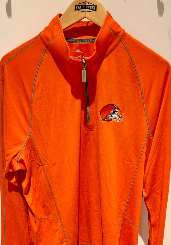 Tommy Bahama Cleveland Browns Mens Orange Goal Keeper Long Sleeve 1/4 Zip Pullover - Image 2