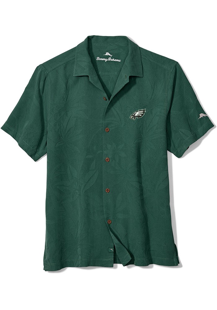 Tommy Bahama Philadelphia Eagles Mens Green Al Fresco Jacquard Short Sleeve Dress Shirt - Image 1