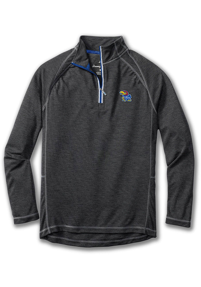 Tommy Bahama Kansas Jayhawks Mens Charcoal Firewall Long Sleeve 1/4 Zip Pullover - Image 1