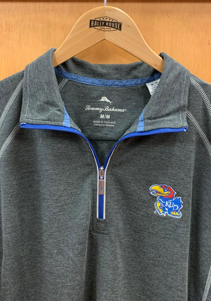 Tommy Bahama Kansas Jayhawks Mens Charcoal Firewall Long Sleeve 1/4 Zip Pullover - Image 2