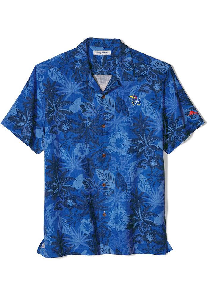 Tommy Bahama Kansas Jayhawks Mens Blue Sport Fuego Short Sleeve Dress Shirt - Image 1