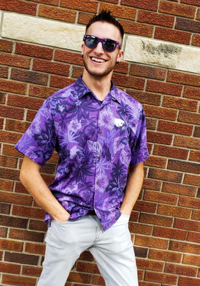 Tommy Bahama K-State Wildcats Mens Purple Sport Fuego Short Sleeve Dress Shirt - Image 2