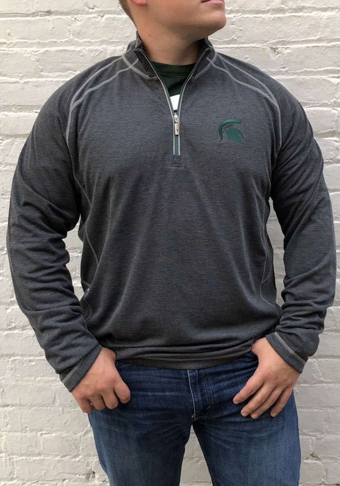 Tommy Bahama Michigan State Spartans Mens Charcoal Firewall Long Sleeve 1/4 Zip Pullover - Image 2