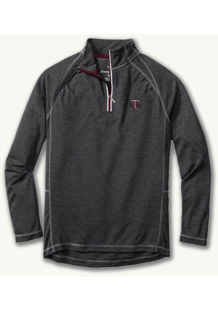 Tommy Bahama Texas A&M Aggies Mens Charcoal Firewall Long Sleeve 1/4 Zip Pullover - Image 1