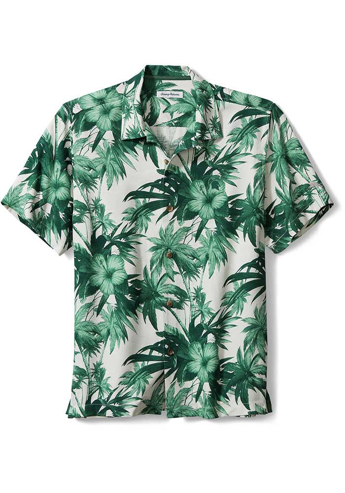 Tommy Bahama Michigan State Spartans Mens Green Hisbiscus Short Sleeve Dress Shirt - Image 1