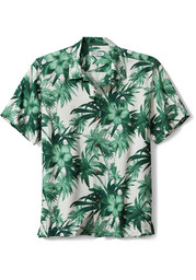 Tommy Bahama Michigan State Spartans Mens Green Hisbiscus Short Sleeve Dress Shirt