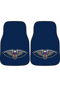 Sports Licensing Solutions New Orleans Pelicans 2-Piece Carpet Car Mat - Navy Blue
