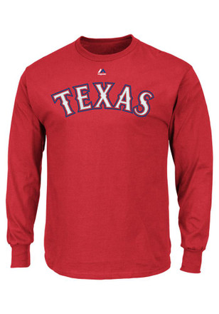 Majestic Texas Rangers Mens Red Rally Loud Tee