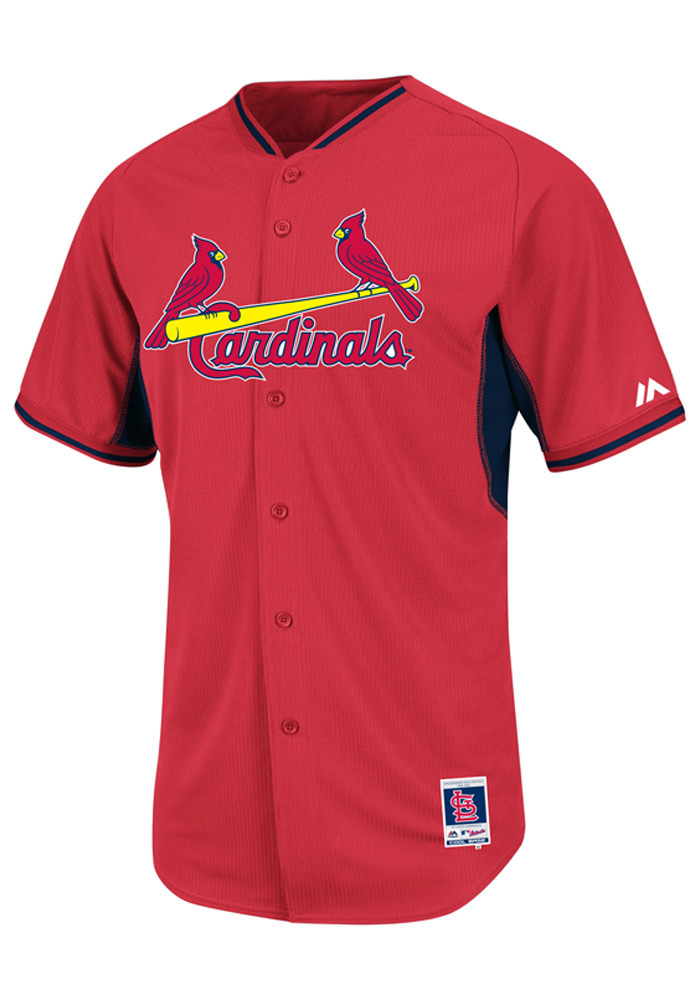 St Louis Cardinals Mens Majestic Batting Practice Jersey - Red - Image 1