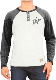 Original Retro Brand Dallas White Long Sleeve Triblend Raglan Henley Tee