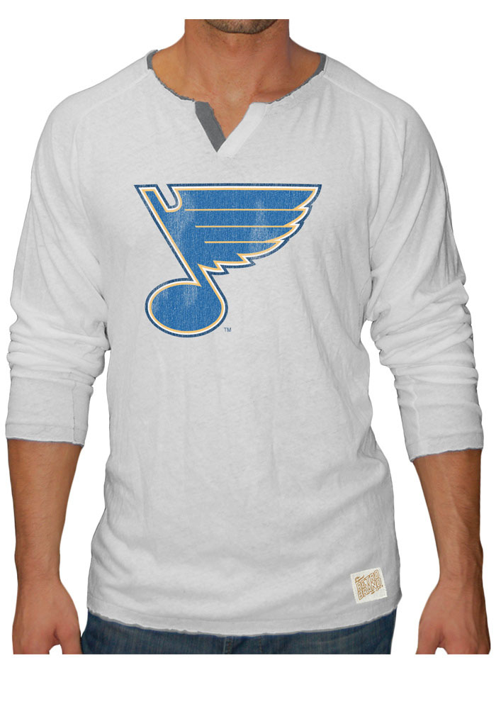 Original Retro Brand St Louis Blues White Slub Henley Long Sleeve Fashion T Shirt - Image 1