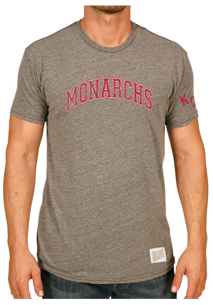 Original Retro Brand Kansas City Monarchs Grey Arch Short Sleeve Fashion T Shirt - Image 1