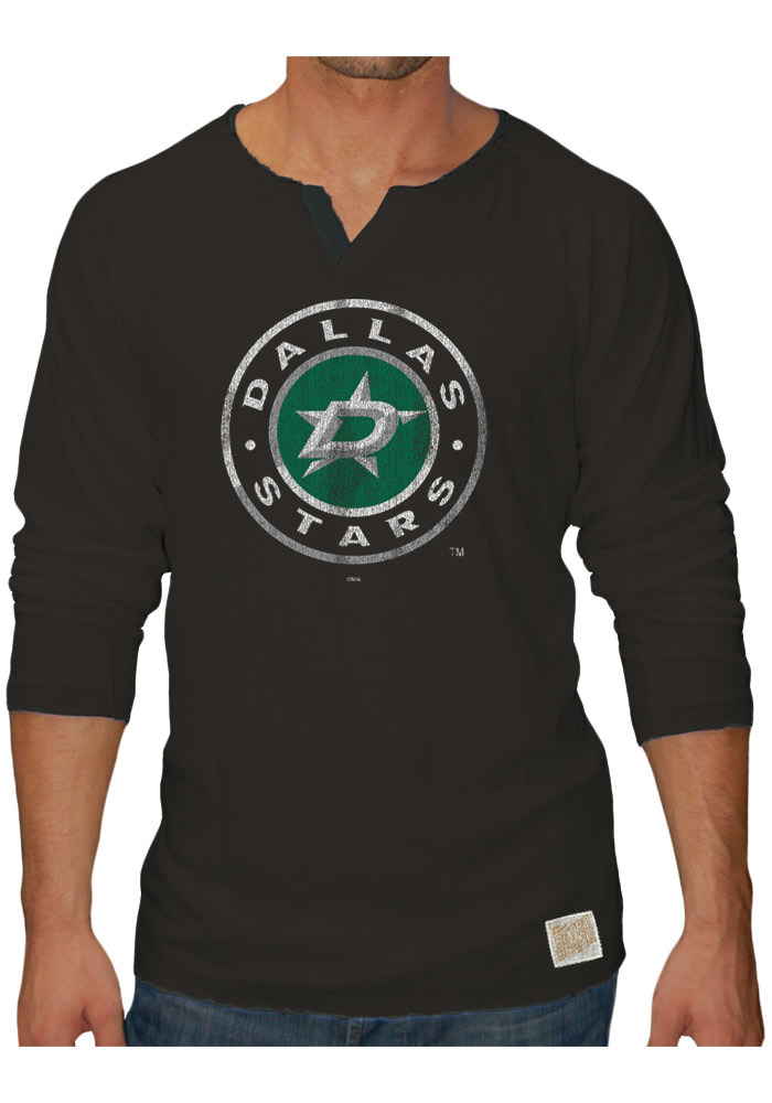 Original Retro Brand Dallas Stars Black Slub Henley Long Sleeve Fashion T Shirt - Image 1