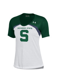 Under Armour Michigan State Spartans Juniors Colorblock White Scoop T-Shirt