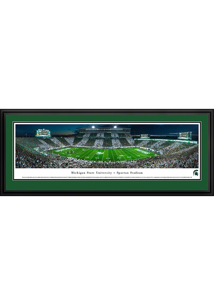 Michigan State Spartans Spartan Stadium Striped Deluxe Framed Posters - Image 1