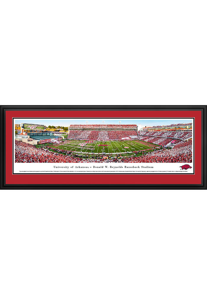 Arkansas Razorbacks Donald W. Reynolds Razorback Stadium Striped Deluxe Framed Posters - Image 1