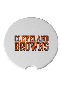 Cleveland Browns Ceramic 2 Pack Car Coaster - White