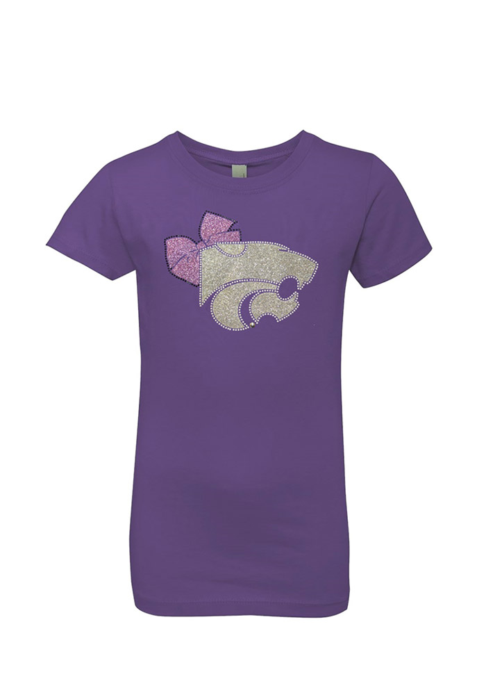 K-State Wildcats Girls Purple Youth Girls Ava Short Sleeve Tee - Image 1