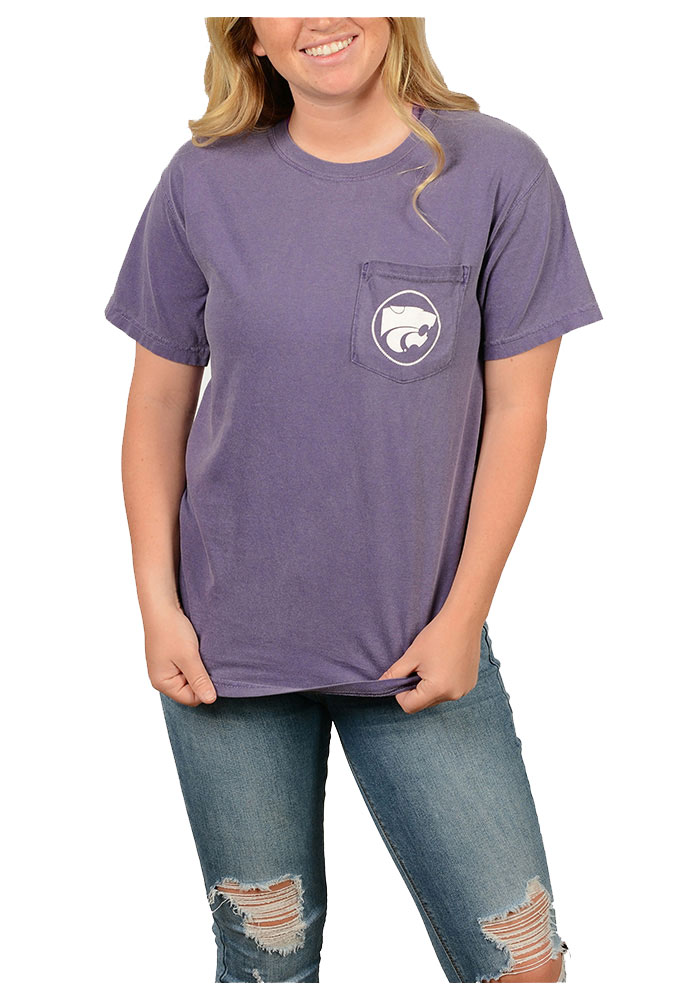 K-State Wildcats Womens Purple Comfort Color Short Sleeve Unisex Tee - Image 1
