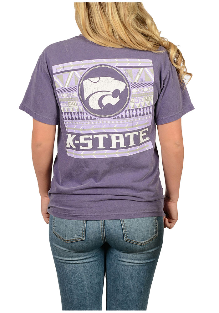 K-State Wildcats Womens Purple Comfort Color Short Sleeve Unisex Tee - Image 2