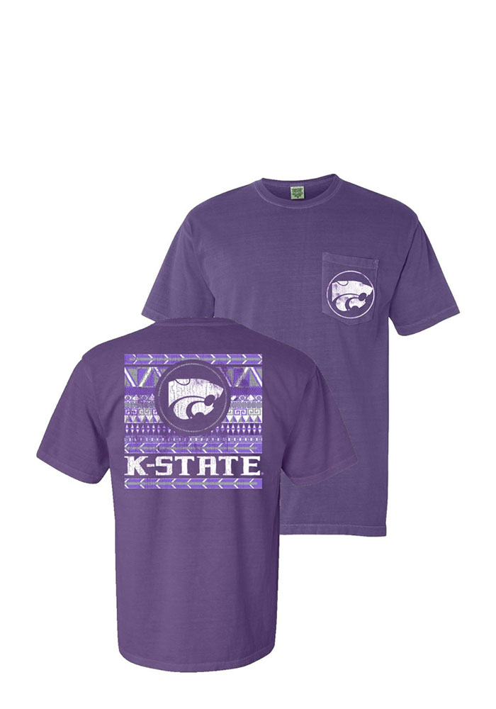 K-State Wildcats Womens Purple Comfort Color Short Sleeve Unisex Tee - Image 3