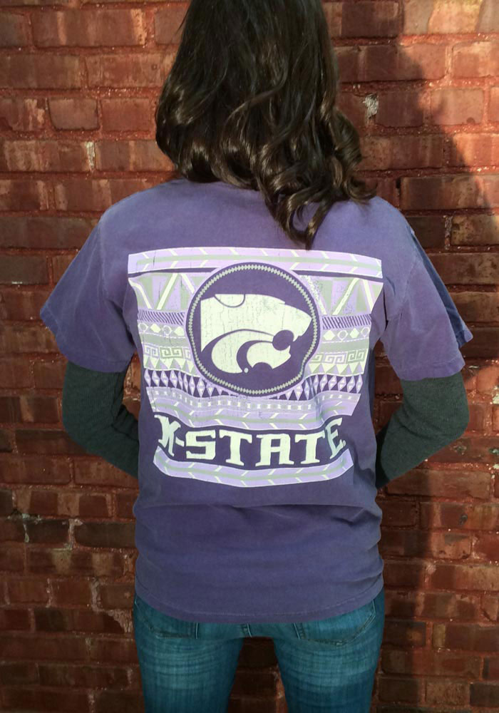 K-State Wildcats Womens Purple Comfort Color Short Sleeve Unisex Tee - Image 5