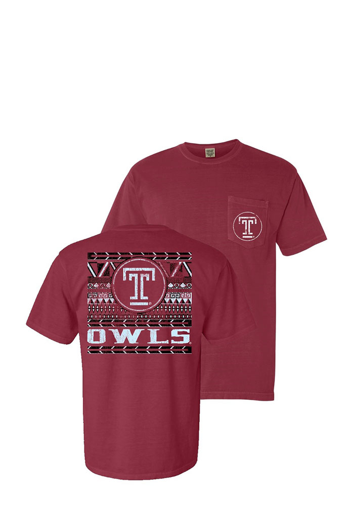 Temple Owls Womens Crimson Comfort Color Short Sleeve Unisex Tee, Crimson, 100% COTTON, Size S