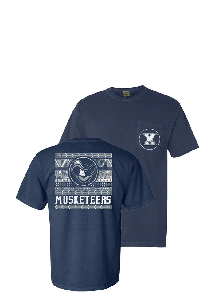 Xavier Musketeers Womens Navy Blue Comfort Color Short Sleeve Unisex Tee - Image 1