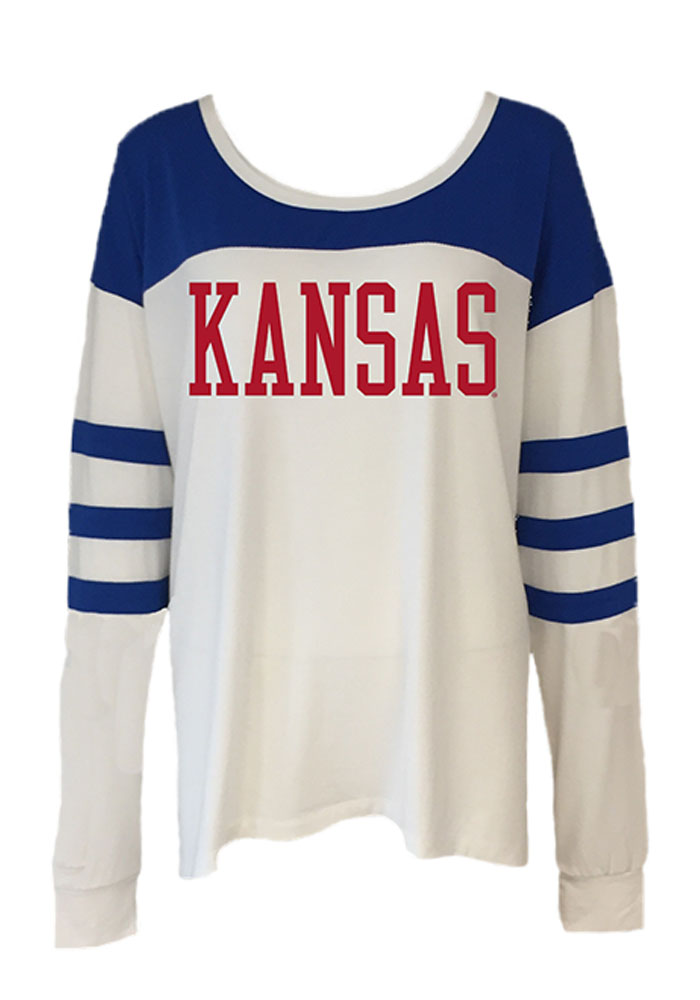 Kansas Jayhawks Womens White Kalynn Long Sleeve Women's Scoop - Image 1