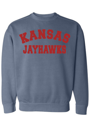 Kansas Jayhawks Womens Simple Blue Crew Sweatshirt