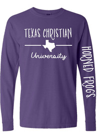 official photos 49b06 758e0 TCU Horned Frogs Womens State Purple LS Tee
