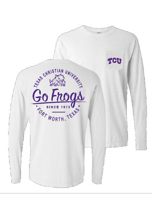 Horned Frogs Womens Circle Pocket White LS Tee