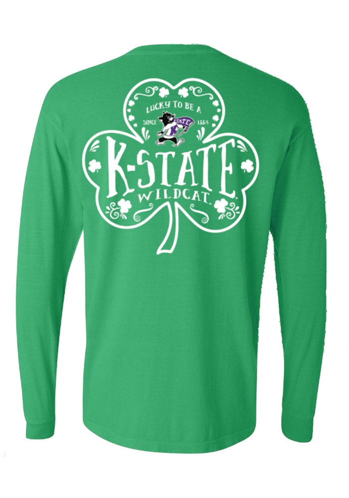 K-State Wildcats Womens Green Word Shamrock LS Tee, Green, 100% COTTON, Size M