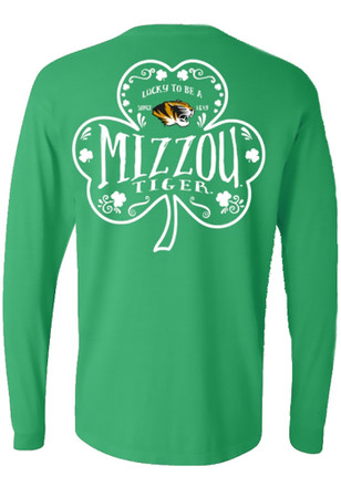 Mizzou Tigers Womens Word Shamrock Green LS Tee